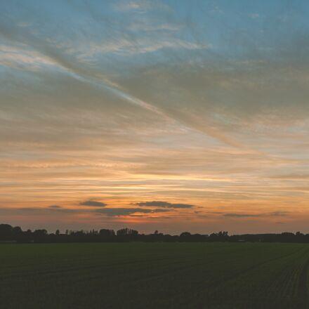 sunset, countryside, sky, Canon EOS 5D MARK II