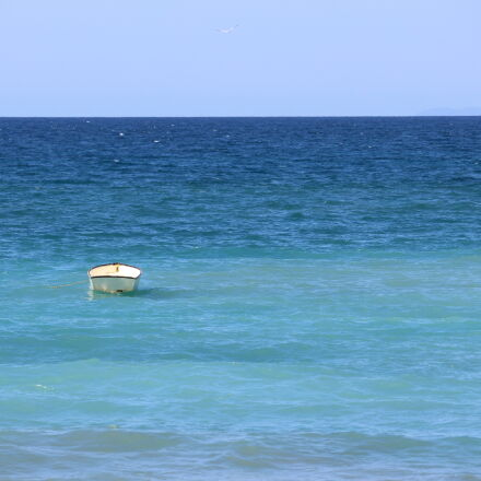 beach, blue, water, boat, Canon EOS REBEL T5I