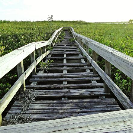 boardwalk, broken, abandoned, Sony DSC-HX1