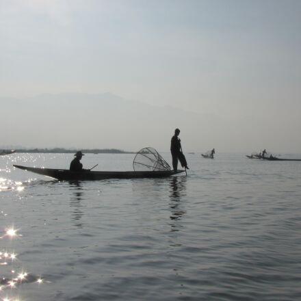 fisherman, boat, lake, Canon POWERSHOT SX120 IS