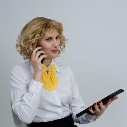 business woman, telephone, phone, RICOH PENTAX K-1