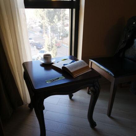 9mm, book, coffee, hotel, Samsung NX mini