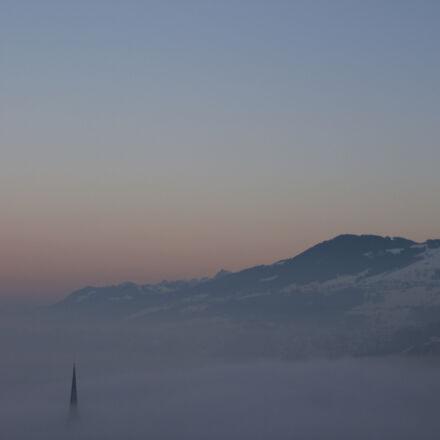 church, cloud, fog, inversion, Canon EOS 1100D