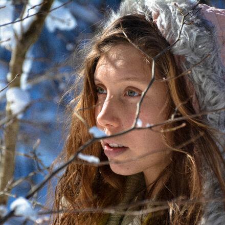 blonde, girl, jacket, snow, Nikon D7100