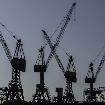 cranes, dock, hamburg, Panasonic DMC-G3