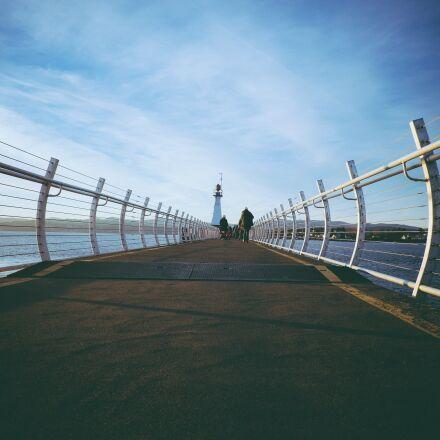 bridge, lighthouse, ocean, Fujifilm X-E2
