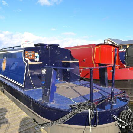 marina, long boat, canal, Canon EOS 6D