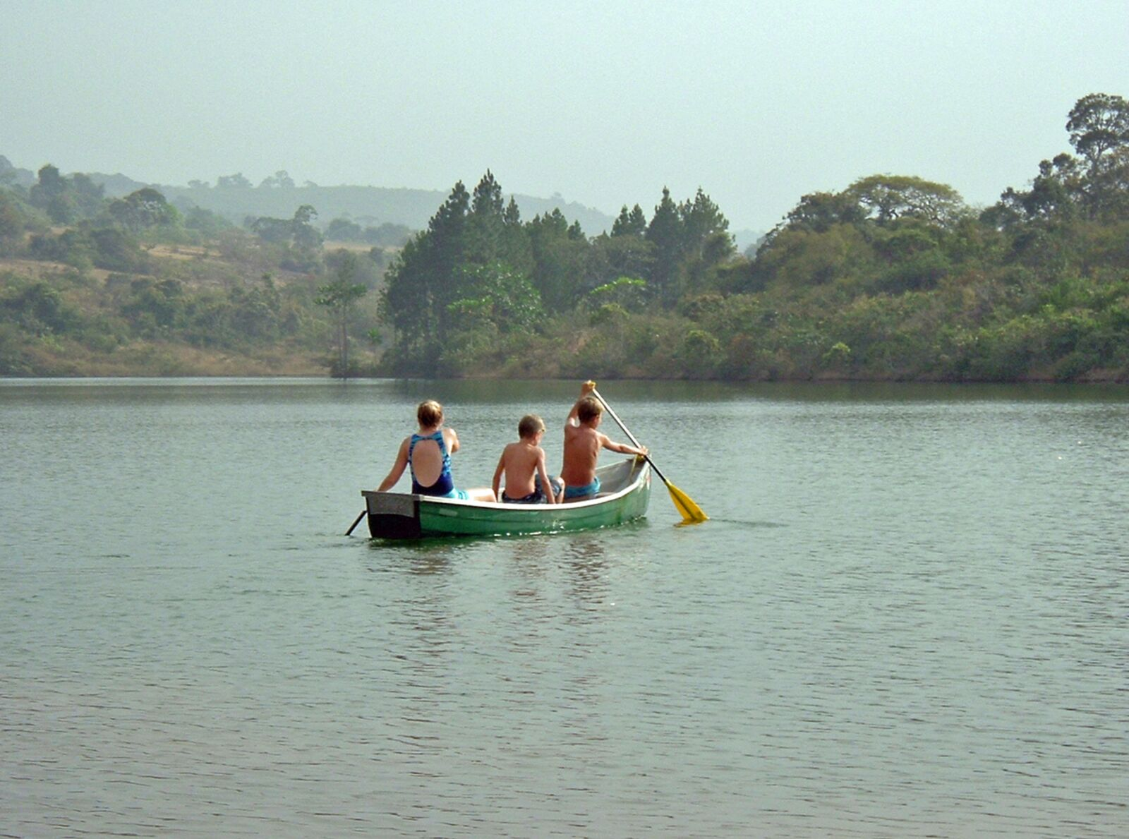 canoe, lake, children
