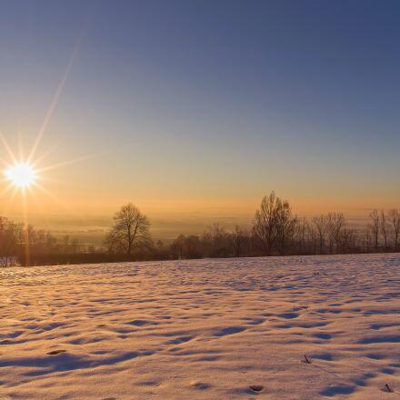 sunset, snow, winter, RICOH PENTAX K-S1