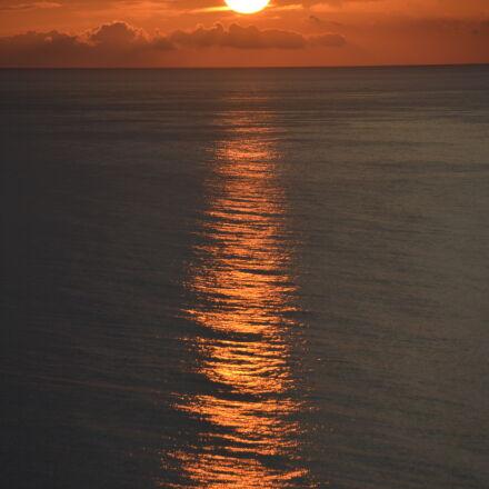 ocean, orange, sky, sea, Nikon D5200