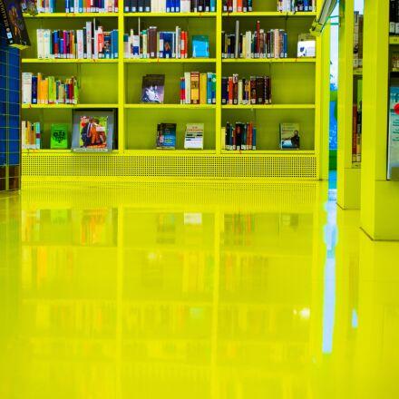mirroring, library, books, Pentax K-50