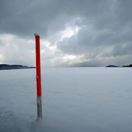 clouds, snow, forest, Nikon COOLPIX P310