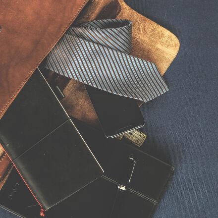 black, leather, wallet, near, Nikon D5300