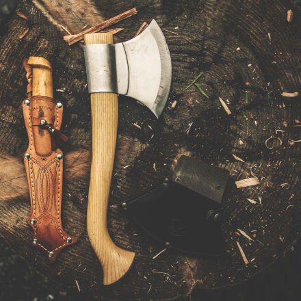 brown, wooden, axe, besides, Nikon D5300