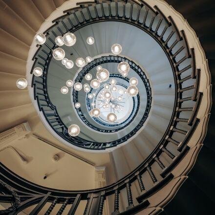 architecture, chandelier, lights, Fujifilm X100S