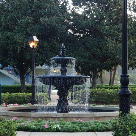 fountain, garden, landscape, park, Sony DSC-QX30