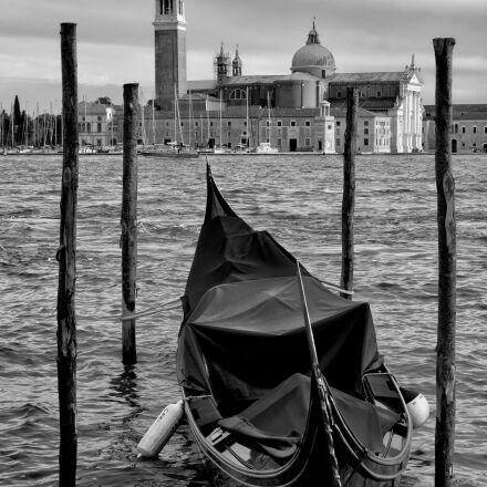 venice, gondola, black and, Fujifilm X-T1