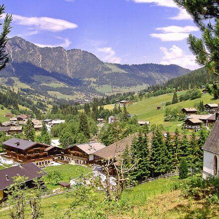 landscape, mountain, house, grass, Fujifilm FinePix A345