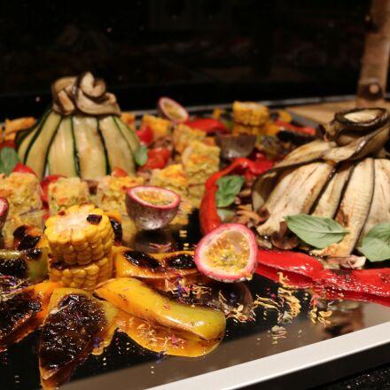 buffet, fish, vegetables, Canon EOS 750D