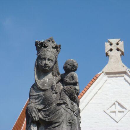 virgin, statue, sky, Sony DSC-T20