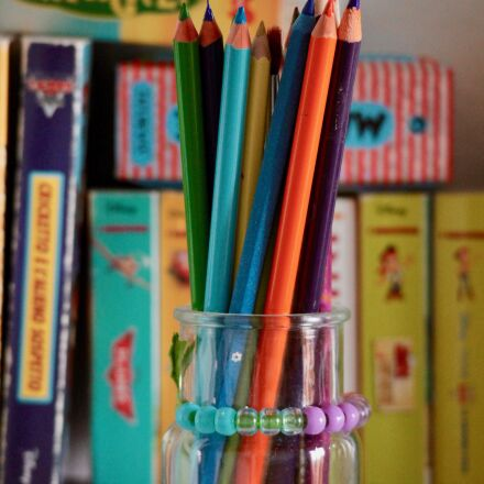 pencils, children, pastels, Canon EOS M