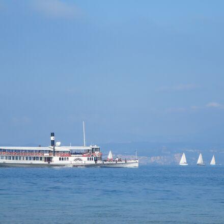 paddle steamer, lake, ship, Canon IXUS 255 HS