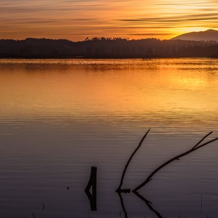 sunset, waters, lake, Nikon D7000
