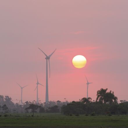 sunset, wind towers, field, Canon EOS 7D