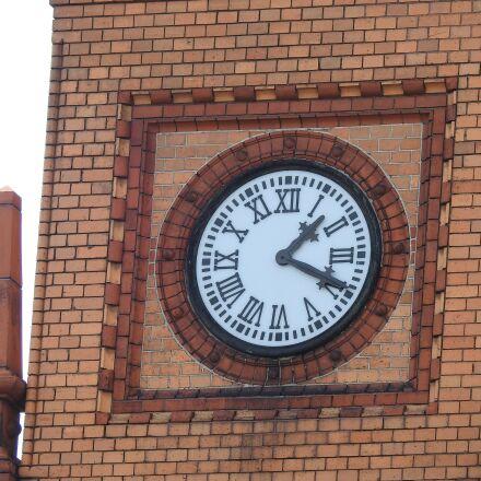 clock, red brick, tower, Nikon COOLPIX P900
