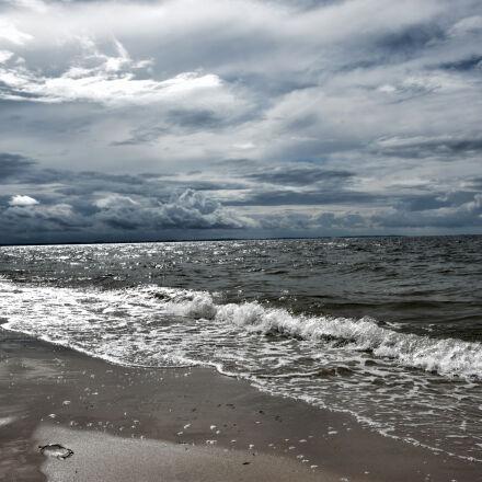 beach, clouds, coast, dawn, Nikon D5300