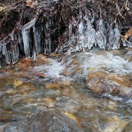 ice, river, stalactite, water, Samsung NX mini