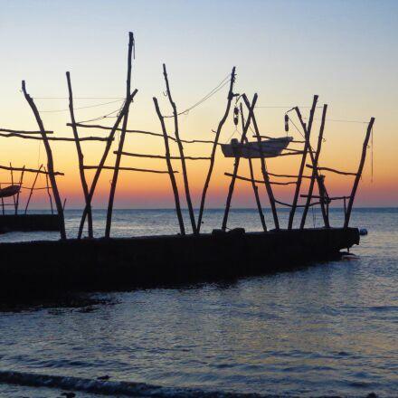 sunset, boat, sea, Sony DSC-W650